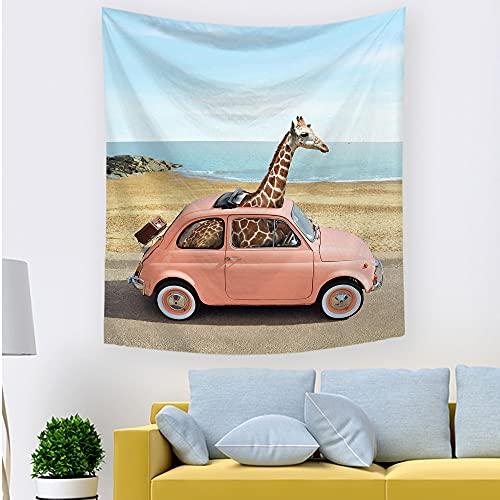 PPOU Tapiz Jirafa Disfrazado zoológico Animal Divertido Estilo Hipster Dibujo Tela Colgante de Pared decoración para Dormitorio Sala de Estar Dormitorio A2 180x200cm