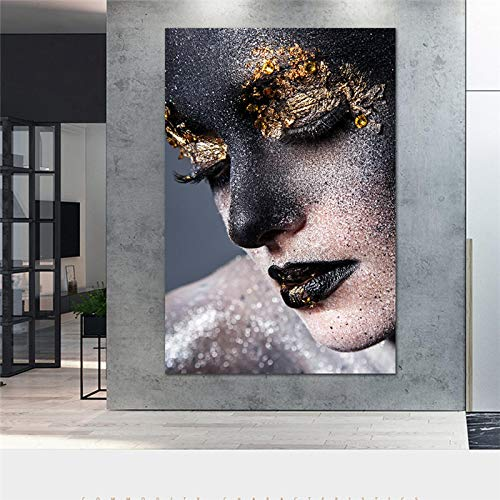 XIANGPEIFBH Modern Art Gold and Black Woman Wall Art Canvas Europen Style Poster Print Wall Art Picture for Living Room Decorations 50x90cm Unframed