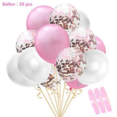 """50 piezas de globos de confeti conjunto blanco rosa, 12"""" helio decorativos globo de látex natural para el cumpleaños de la boda día de san valentín,regalos de novia decoración de fiesta de bautizo"""