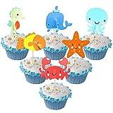 OYSJ 72 Pezzi Decorazioni Torta Compleanno,Topper per Torta di Mare Oceano Animale,della Festa a Tema sotto Il Mare,Cupcake, Decorazioni per Feste