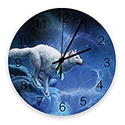 Fantasy Staring 12 Inch Silent Non-Ticking Wall Clock- 3D Wolf Animal Universe Space Pattern Battery Operated Round Wooden Wall Clock for Home Office School