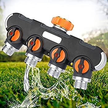 XDDIAS 4 Way Garden Hose Splitter with 4 Valves 3/4 Inch Heavy Duty Hose Water Manifold Connector for Outdoor Faucet Adapter