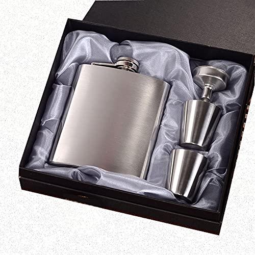 Frasco de acero inoxidable de nueva escala para licor para hombres Mujeres Black Classic Whiskey Flask Gran regalo para esquiar Navidad Boda Camping Camping Portátil de acero inoxidable Hip Frasco Tra