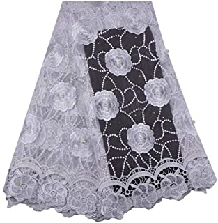 Laliva Style French Nigerian Laces Fabrics Tulle African Laces Fabric Wedding African French Tulle Lace 1315 - (Color: As Picture)