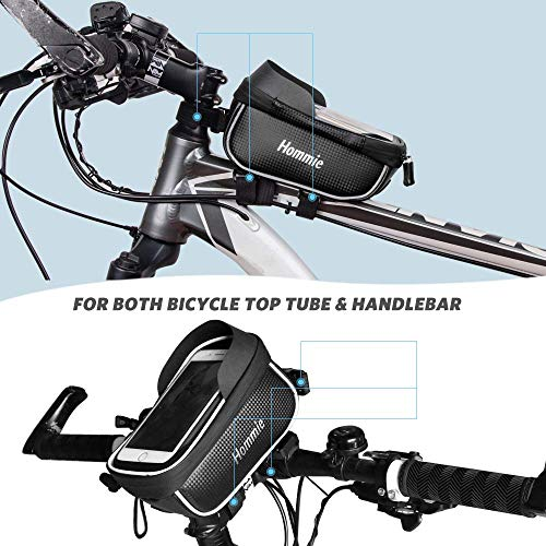 Hommie Wasserdicht Fahrradlenkertasche, Handyhalterung, Fahrrad Tasche, Handyhalter mit Kopfhörerloch, Fahrradtasche, Rahmentaschen für Handy GPS Navi und andere Edge bis zu 6 Zoll Geräte, Schwarz - 2