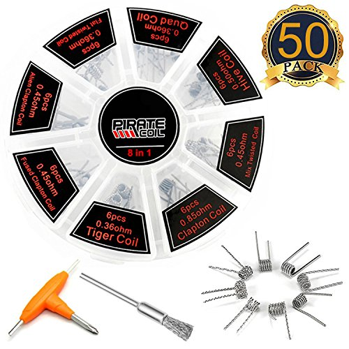 Prebuilt Coils Kit, Kanthal Wire with A1 Resistance Material for Craft Wire Projects, 8 in 1 Total 48PCS, Come with T-Type Screwdriver and Cleaning Brush