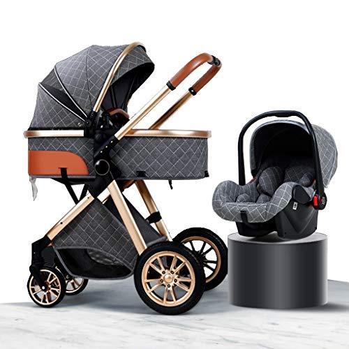 HEAYU 3-in-1 Travel System Baby Pram, High Landscape Anti-Shock Newborn Baby Stroller with Stroller Organizer, Pushchair & Accessories (Color : Gray)