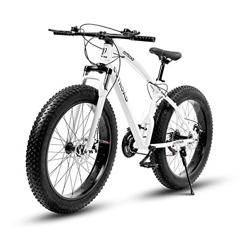 PanAme Fat Tire Bike 26 inch Mountain Bike, 21-Speed Disc Brake Suspension Fork Suspension Anti-Slip Bikes for Men and Women, White