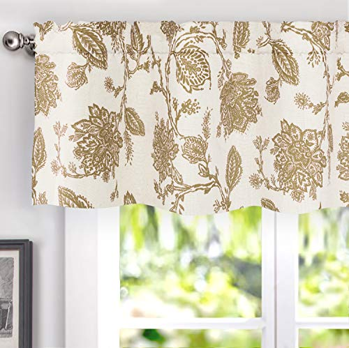 DriftAway Freda Jacobean Floral Linen Blend Blackout Thermal Insulated Energy Saving Privacy Window Curtain Valance Rod Pocket 2 Layers Single 52 Inch by 14 Inch Plus 2 Inch Header Taupe Beige