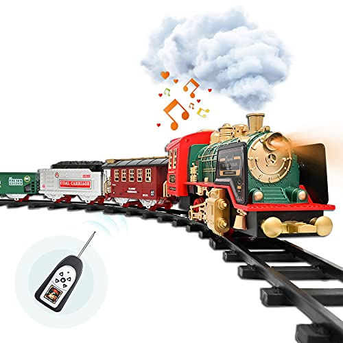 Train Set with USB Charging Battery and Remote Control - Christmas Train Toys - Steam Locomotive Engine, Cargo Car and Train Tracks - Rechargeable Electric Train Toy Gift Toys for Age 3 4 5 6 + Kids.
