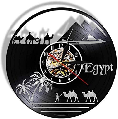 Reloj de pared de vinilo con diseño de pirámides de Egipto, 30,48 cm, estilo vintage, para decoración del hogar y la oficina, dormitorio, cocina, sala de estar para niños