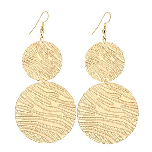 YCEOT Lange Ohrringe für Frauen Doppelrunde mit Wasserzeichen Bijouterie