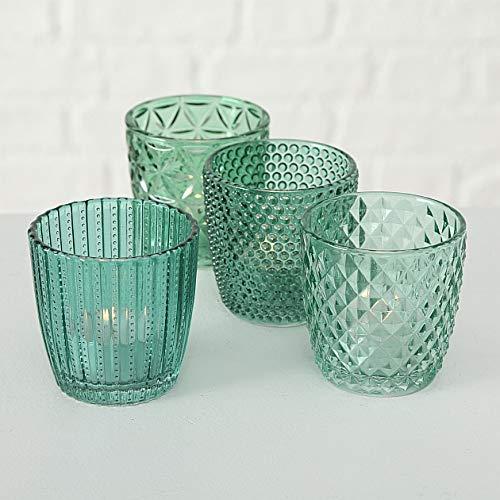 Boltze Teelichthalter Set Teelichtgläser Deko Windlicht Marilu Petrol 4X Glas