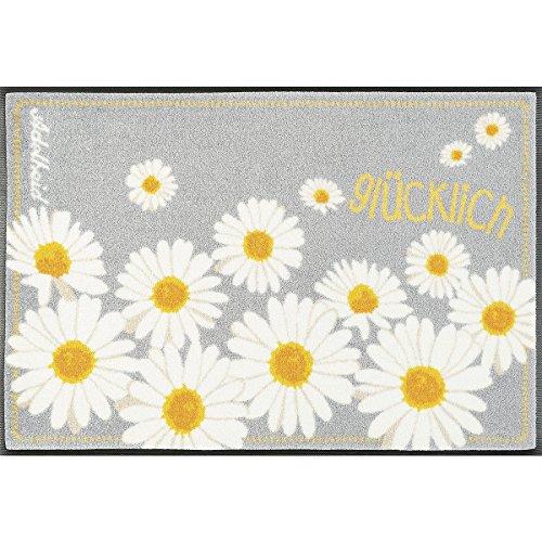 Wash&Dry 087458 glücklich Fußmatte, Acryl, Gelb, 50 x 75 x 0.9 cm