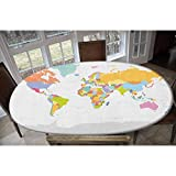LCGGDB Elastic Polyester Fitted Table Cover,Highly Detailed Political Map of The World Global Positioning System Graphic Colorful Oblong/Oval Elastic Fitted Tablecloth,Fits Tables up to 48