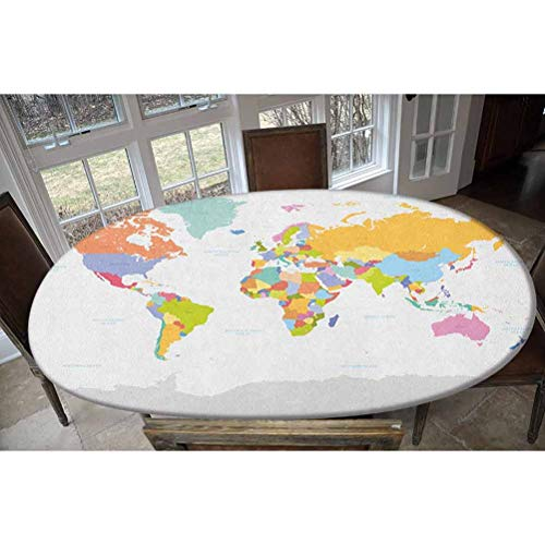 LCGGDB Elastic Polyester Fitted Table Cover,Highly Detailed Political Map of The World Global Positioning System Graphic Colorful Oblong/Oval Elastic Fitted Tablecloth,Fits Tables up to 48' W x 68' L