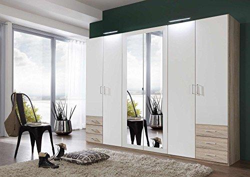 lifestyle4living Kleiderschrank mit Spiegel, Alpin-Weiß, Eiche-Sägerau, 270 cm | Drehtürenschrank 6 türig mit 6 Schubladen im klassischen Stil