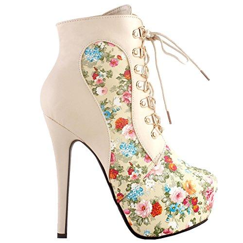 "SHOW STORY Beige Classic 6"" 6 inch Designer Cute Highest Shoes,LF80831AM39,8US,Beige"