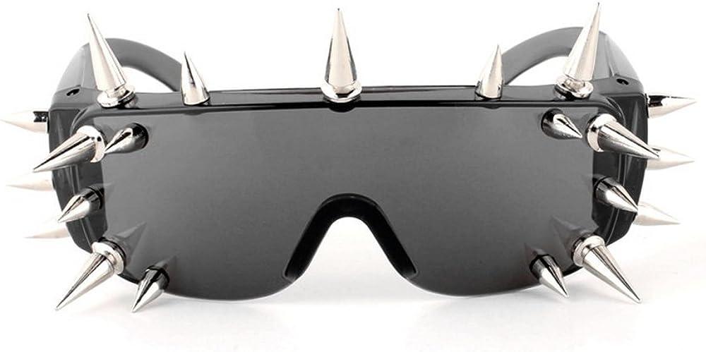 Metal Studded Moto Biker Glasses Black Cool Rock Punk Spike Sunglasses Oval News