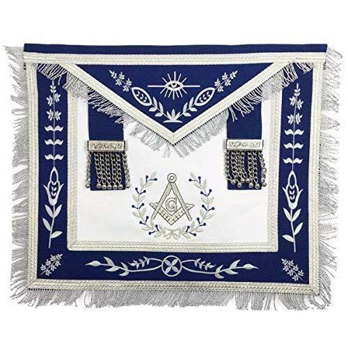 Masonic Blue Lodge Master Mason Silver Machine Embroidery Freemasons Apron-Lambskin