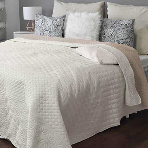 HOMELEVEL Tagesdecke Bett und Sofaüberwurf Bettüberwurf Sofa Tages Decken Betthusse XXL Decke Überwurf (220cm x 240cm, Ecru/Beige Gemustert)