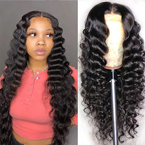 ARIETIS 28 Inch Natural Black Lace Front Wigs Human Hair Loose Deep Wave for Black Women Pre Plucked with Baby Hair Brazilian 13x5x1 T-Part Natural Hairline Lace Front Wigs 150% Density