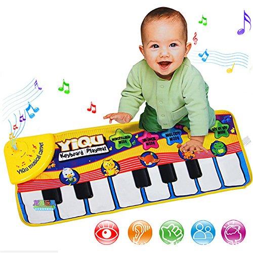 Gfeu, tappetino con pianoforte per bambini, tappeto musicale, strumento giocattolo, si suona al tocco, coperta da gioco e per la ginnastica