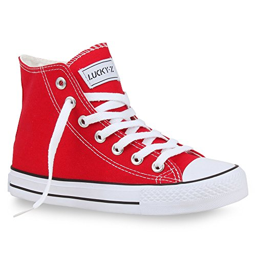 stiefelparadies Sportliche Damen SneakersStoff Camouflage Schnürer Sneaker High Neon Sport Schuhe 26850 Rot 43 Flandell