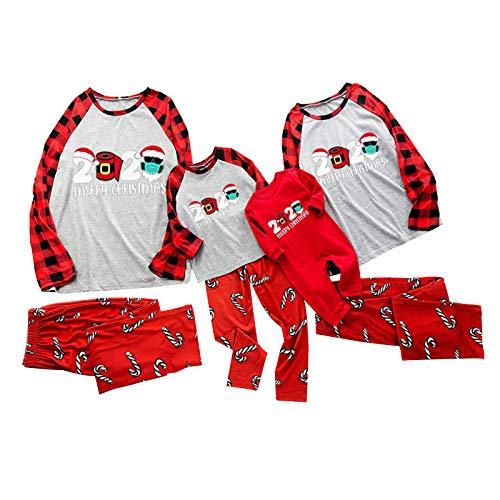 HEWYHAT Conjunto de pijama de Navidad a juego para la familia, ropa de dormir con parte superior y pantalones largos, ropa de dormir para el hogar para mujeres, hombres, niños y bebés, S