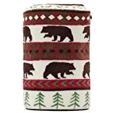 Blanket Throw Brown Bear and Pine Trees Pattern White Background Soft Lightweight Coral Fleece 230GSM for Baby 50 X 60