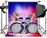 HD Vinyl 7x10ft Drum Set Backdrop Band Concert Backdrops Interior Stage Bokeh Glitter Lights Graduation Ceremony Photography Background for Boys Girls Show Party Theater Photo Studio Props 564