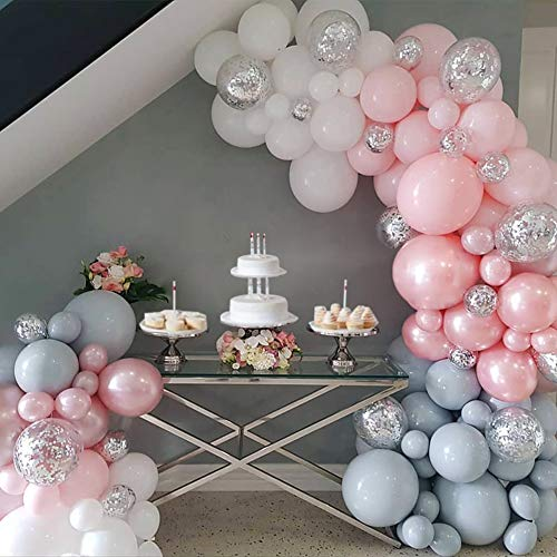 Pink Elephant Birthday Party Balloons Garland Arch Kit Baby Shower Backdrop Winter Onderland Party Decorations Gray White Pink Shiny Silver Confetti Balloons