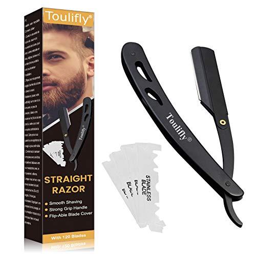 Rasiermesser, Shave Rasiermesser, Professionelles Klassisches Gerades Barbier Rasiermesser, Etui und scharfen Wechselklingen - Aus rostfreiem Edelstahl - Für eine präzise Nassrasur