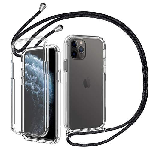 Ptny Funda 360° con Ajustable Cuerda para Phone 11 Pro MAX, PC Dura Resistente y TPU Silicona Bumper Transparente Anti-Choque Moda Colgante Cordón Carcasa - Negro
