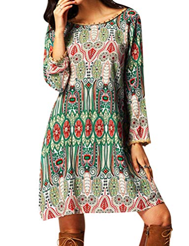 OUNAR Damen Vintage Lose Langarm V-Back Ethnic Style Kleid für den Frühling