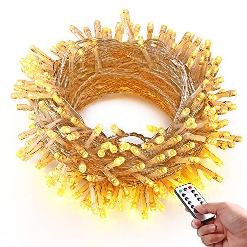 HAYATA 200 LED Catene Luminose - 20m Luci della Batteria con Telecomando & Timer - IP65 Impermeabile Illuminazione per esterni - perfetto per Giardino, Casa, Nozze, Festa, Fata, decorazione natalizia