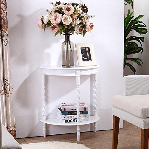 D&L Madera de Goma Impermeable Mesas auxiliares, Semicírculo Mesa de sofá Dormitorio Mesa de Noche Sala de Estar Mesa de café Vendimia Mesa de teléfono-Blanco L60xW30xH69cm