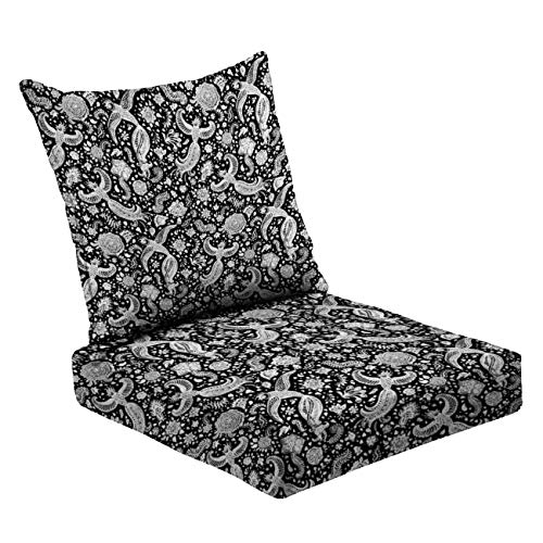 MVEMOEMCA Abstract Floral Seamless Pattern of Hand Drawn White Exotic Peacock Deep Seat Cushion Set Plush Surface Backrest and Seat Cushion Outdoor Indoor Furniture Replacement Cushions