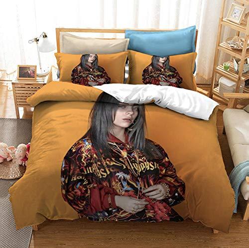 KIrSv Stampa 3D Bilie Eilish Singer Bedding, Set Copripiumino in Microfibra con Federa, Adatto per la Decorazione della Camera da Letto dell'appartamento dell'hotel-200x229cm (3 Pezzi) _3