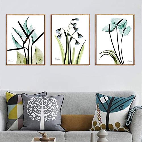 WKHRD Pequeñas Flores Frescas Pintura en Lienzo Triple Planta Verde Simple Arte de la Pared Imágenes Sala de Estar Dormitorio Sofá Fondo Decoración Mural | 30x40cmx3 (Sin Marco)
