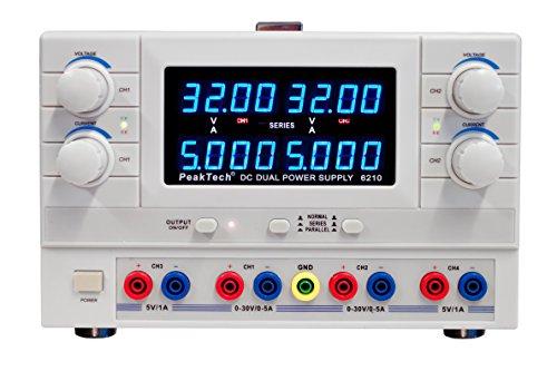 Peak Tech 2canales Linear DC fuente de alimentación de laboratorio de modulación de dispositivo–2x 0–30V/5A DC–5V/1A fijo Voltaje con transformador de seguridad, 1pieza, P 6210