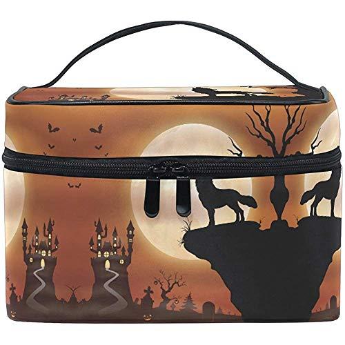 Maquillage Sac Halloween Loup Lune Voyage Cosmétique Sacs Organisateur Train Cas Toilette Maquillage Pochette