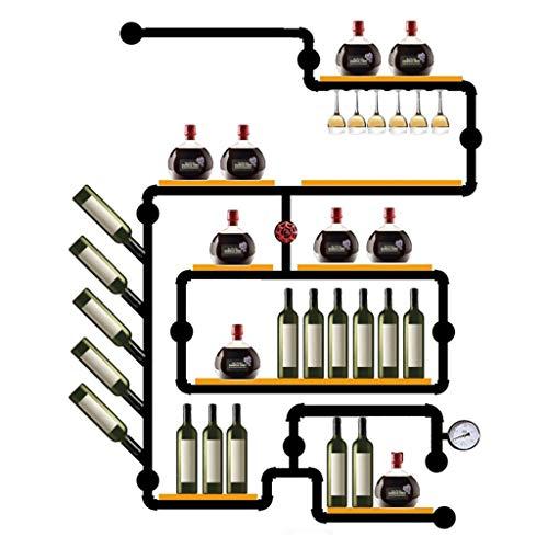 Porte bouteille WYB Support De Vin Loft Vent Industriel Décoration Murale Bar Suspendu Tablette en Bois De Fer Forgé 180 * 130cm Étagère de Rangement