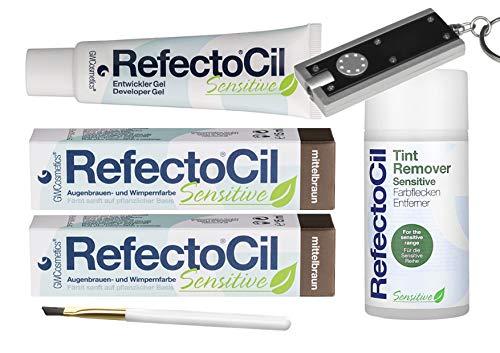 Refectocil Sensitive SET Augenbrauen/Wimpernfarbe 2 x mittelbraun - Entwickler & Farbfleckenentferner atis Taschenlampe
