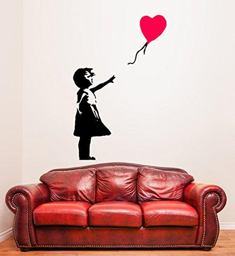 (68 cm x 100 cm), Vinyl, Banksy-Motiv Mädchen mit Luftballon Herz Herzballon, Graffiti/Street Art Decor Wandtattoo/Wandsticker, entfernbar, Vinyl, personalisierbar, inklusive zufällig Geschenk!