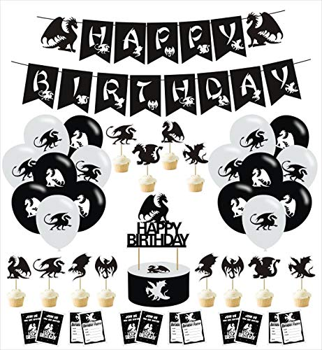 THREEMAO Dragon Party Decoration Dragon Birthday Party Supplies, Party Supplies Includes Happy Birthday Banner, Balloons, Cake Topper, Dragon Birthday Supplies Fantasy Party Invitation Card