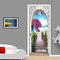 ZWYCEX ドアステッカー PVC自己接着防水ドアステッカーヨーロピアンスタイルの海の風景写真の壁画の壁紙リビングルームのベッドルームクリエイティブインテリア (Dimensions : 95cm x 215cm)