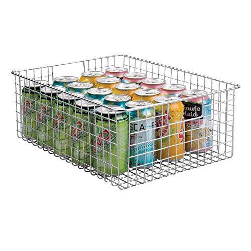 mDesign Allzweckkorb aus Metalldraht – flexibler Aufbewahrungskorb mit integrierten Griffen – 40,6 cm x 30,5 cm x 15,2 cm – universeller Drahtkorb für die Küche – silberfarben