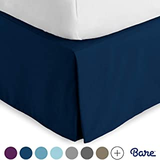 Bare Home Bed Skirt Double Brushed Premium Microfiber, 15-Inch Tailored Drop Pleated Dust..