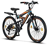 """Licorne Bike Strong D 26"""" Mountain Bike Fully, Adatto a Partire da 150 cm, Freno a Disco Anteriore e Posteriore, Cambio Shimano a 21 Marce, sospensioni Complete, per Ragazzi, Nero/Blu/Arancione"""